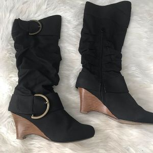 Naughty Monkey black tall wedge boots